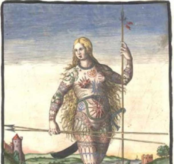 """Hand-colored version of Theodor de Bry's engraving of a Pict woman (a member of an ancient Celtic people from Scotland). De Bry's engraving, """"The True Picture of a Women Picte,"""" 1588 ( Public Domain )"""