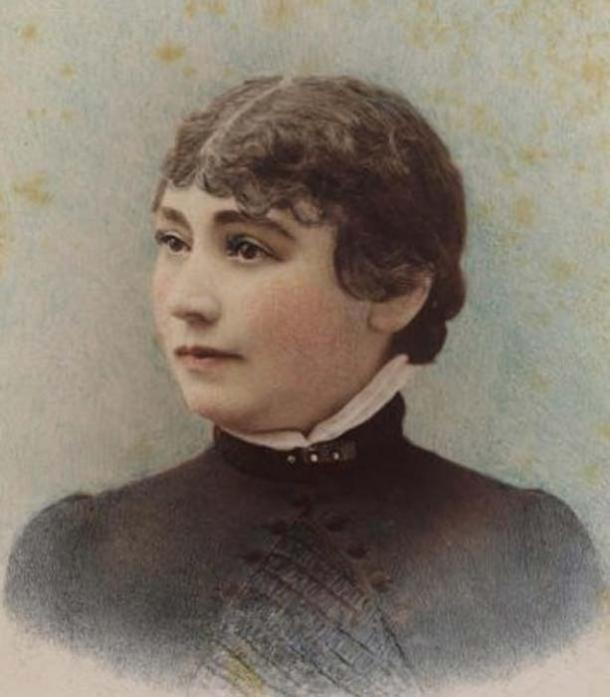Hand-tinted ambrotype of Sarah Winchester taken in 1865 by the Taber Photographic Company of San Francisco, 1865.