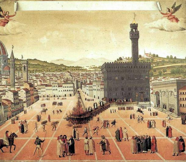 Hanging and burning of Girolamo Savonarola in Piazza della Signoria in Florence in 1498