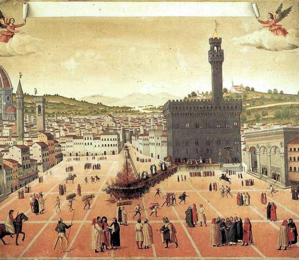 Hanging and burning of Girolamo Savonarola in Piazza della Signoria in Florence in 1498