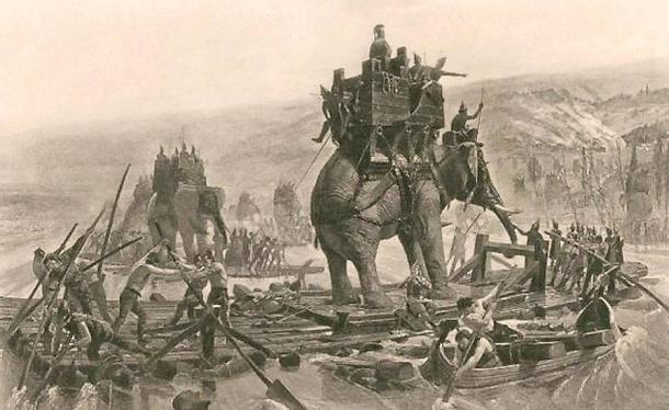 Hannibal's Army Crossing the Rhone, Henri Paul Motte, 1878.