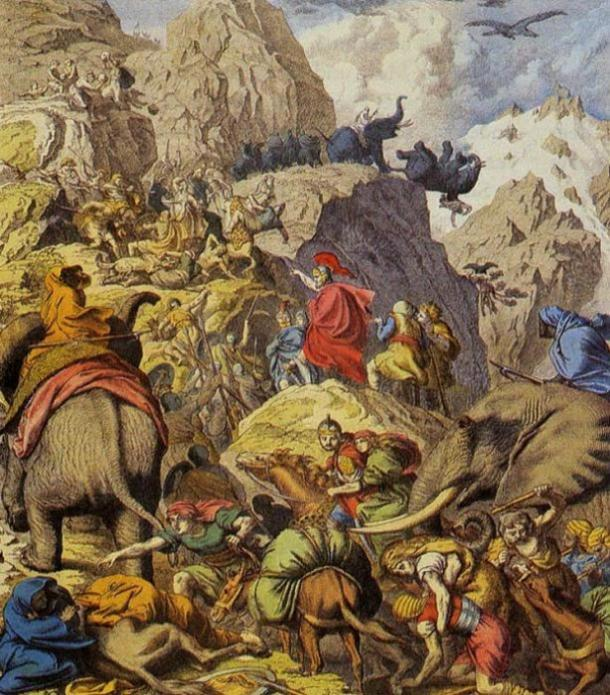 Hannibal and his men crossing the Alps. Phaidon Verlag, 1932 (Public Domain)