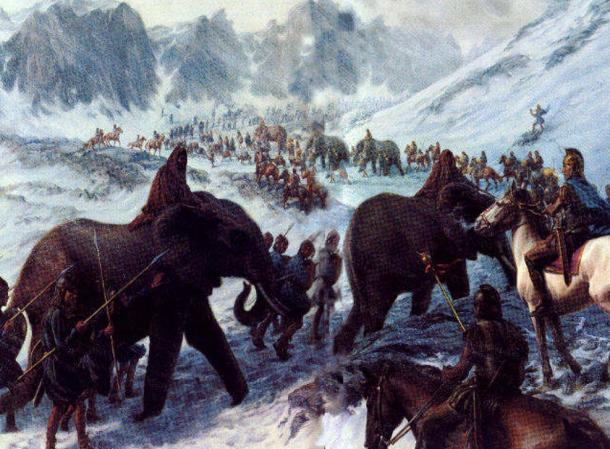 Hannibal crossing the Alps with War Elephants