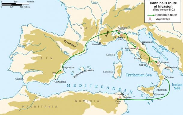 Hannibal's route of invading Italy