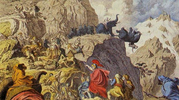 Detail, Hannibal's Famous Crossing of the Alps with War Elephants