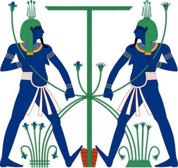 Hapi, shown as an iconographic pair of genii symbolically tying together upper and lower Egypt.