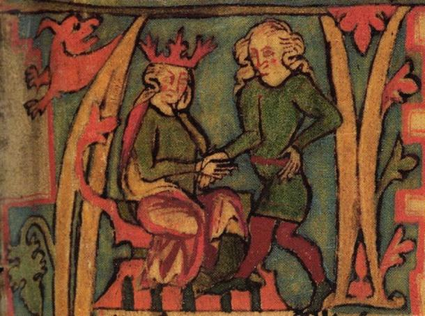 King Haraldr hárfagri receives the kingdom out of his father's hands. From the 14th century Icelandic manuscript Flateyjarbók.