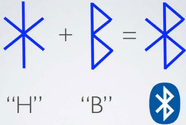 Harald's initials in runes and his Bluetooth nickname. ( haraldgormssonbluetooth)