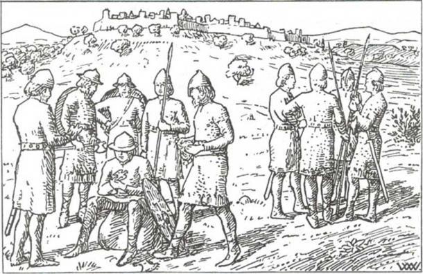 Harald's men waited outside the city. Harald Hardraada saga, Heimskringla