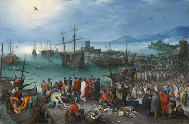 Harbor Scene with St. Paul's Departure from Caesarea, by Jan Brueghel the Elder