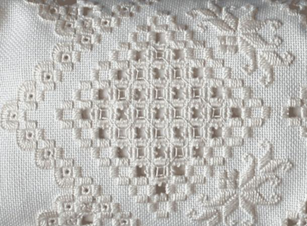 Example of modern Hardanger embroidery work.