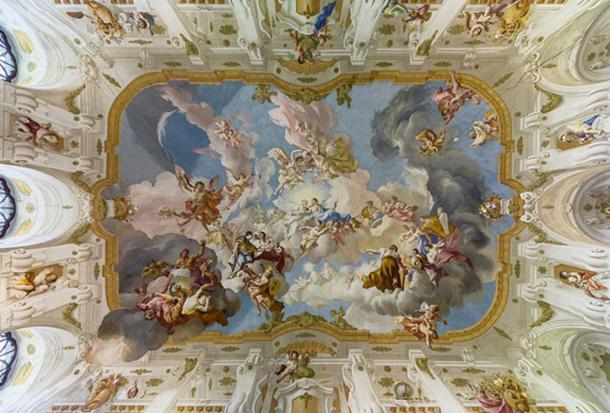 The Harmony between Religion and Science, a ceiling fresco of the Marble Hall at Seitenstetten Abbey (Lower Austria) by Paul Troger, 1735.