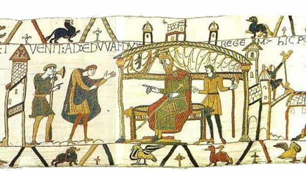 Harold meeting Edward shortly before his death, depicted in scene 25 of the Bayeux Tapestry. (Public Domain)