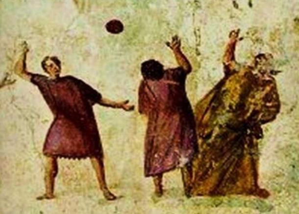 Harpastum, ancient Roman fresco. (Public Domain)