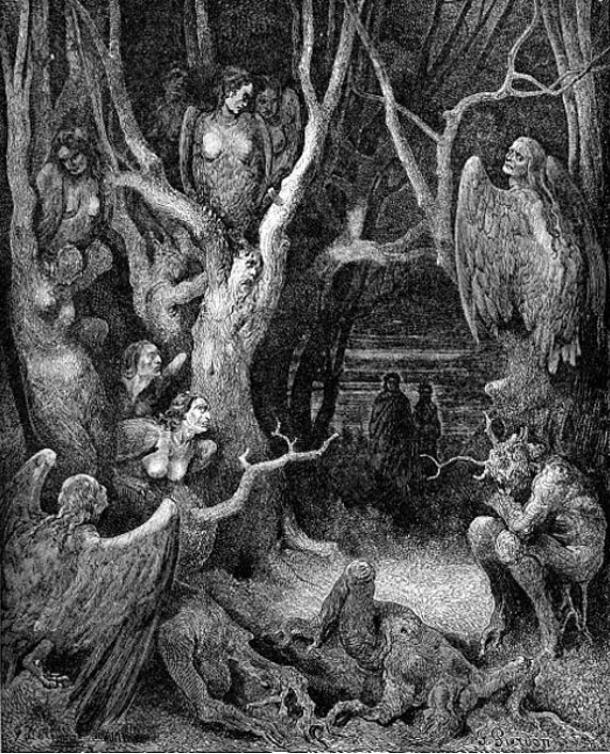 Harpies in the forest of suicides (1857) Gustave Doré