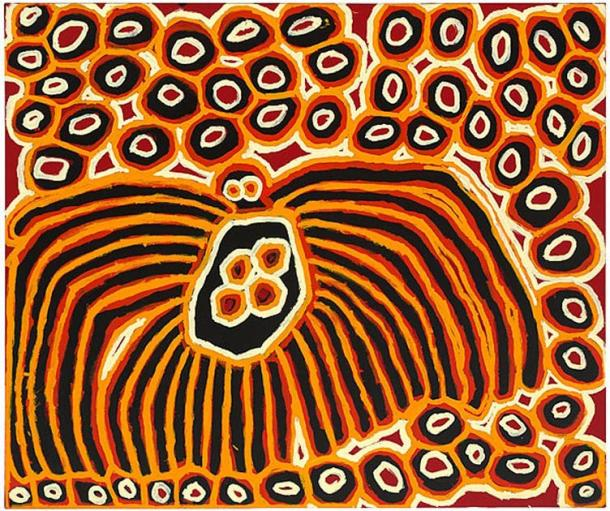 Harry Tjutjuna, Pitjantjatjara, Walytjatjara, north-west corner of South Australia, Australia born c. 1928/1932, Wanka Tjukurpa (Spiderman), 2007, synthetic polymer paint on canvas 154cm h x 182cm w. Collection National Gallery of Australia, Canberra. (Image: © the artist, courtesy Ninuku Art Centre)
