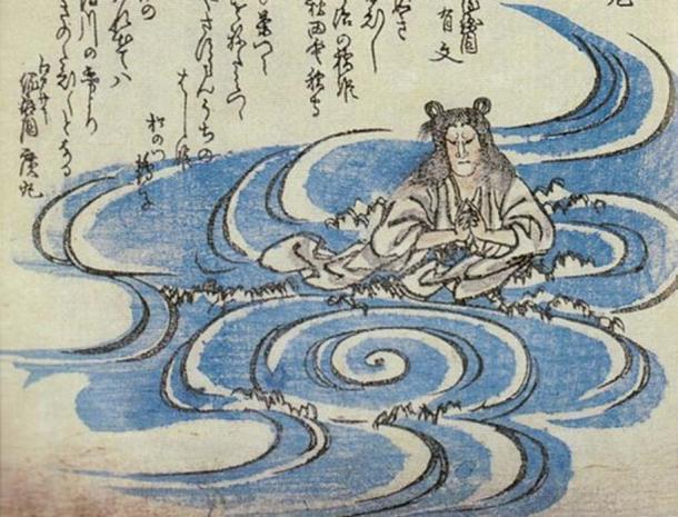 Hashihime as appearing in the Kyōka Hyaku-Monogatari from 1853.
