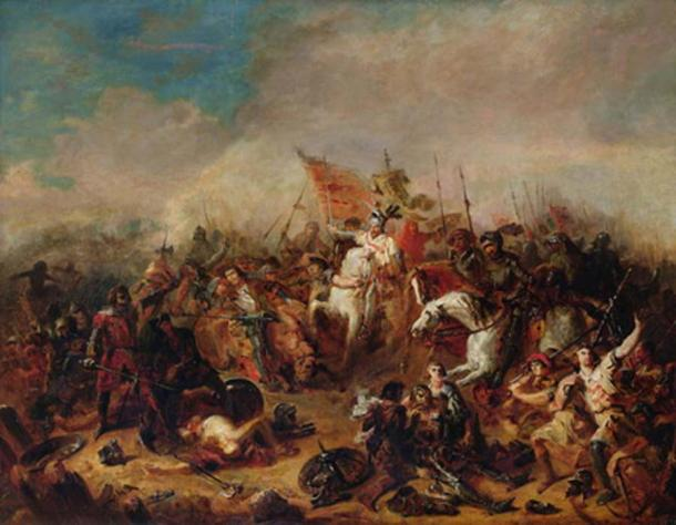 'The Battle of Hastings in 1066' by Francois Hippolyte Debon. (Public Domain)
