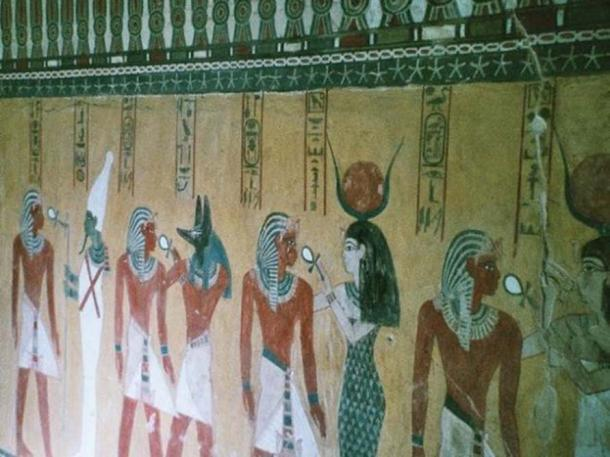 Hathor among the deities greeting the newly dead pharaoh, Thutmose IV, from his tomb in the Valley of the Kings, Luxor, Egypt.