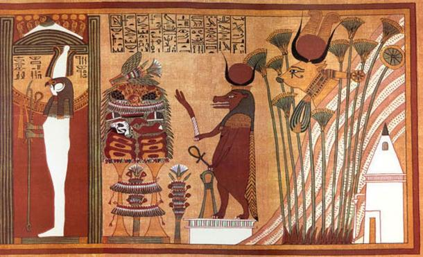 Hathor is the cow-headed goddess at right in this image from the ancient Egyptian Book of the Dead.