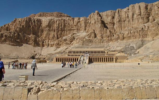 Hatshepsut's mortuary temple with the cliffs in the background.