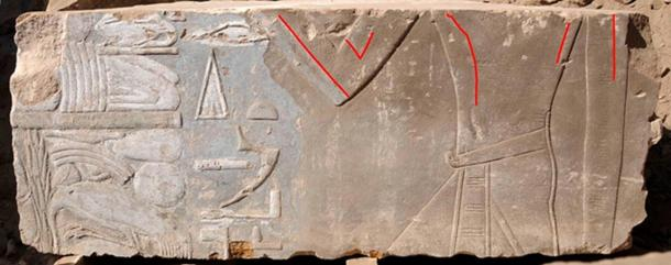Female representation of Hatshepsut (highlighted by red lines) that was later replaced by the image of a male king.