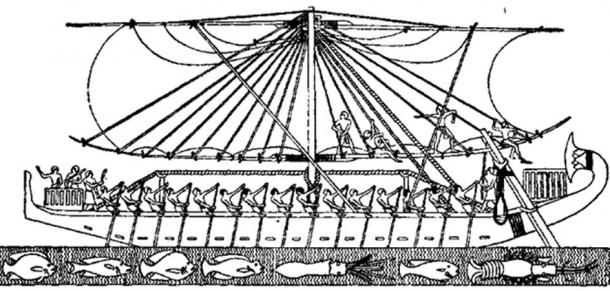 An image of Queen Hatshepsut's sailing boat during an expedition to the Land of Punt on the Red Sea coast.