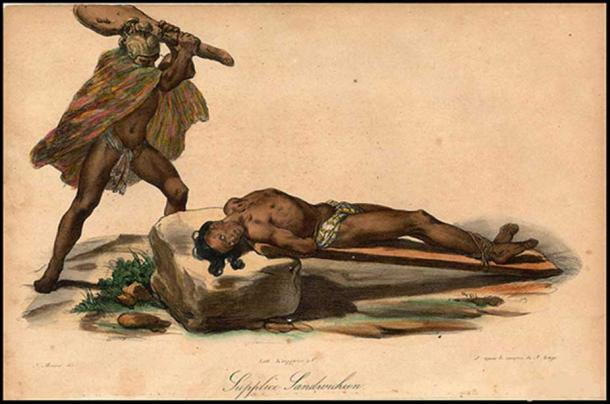 Hawaiian sacrifice, from Jacques Arago's account of Freycinet's travels around the world from 1817 to 1820