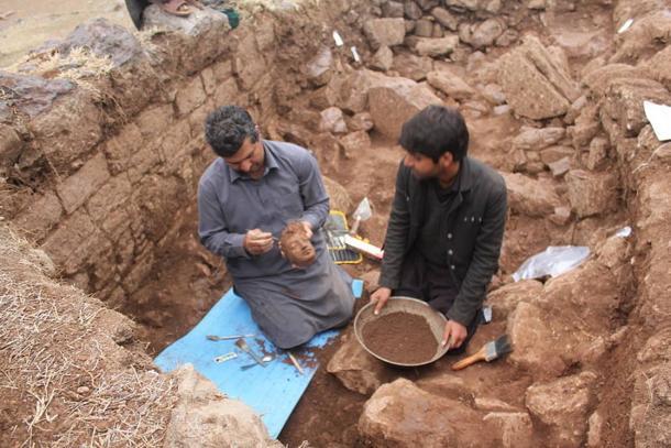 Hazara University Archaeologist - Dr. Muhammad Zahir - excavating at Bhamala Site in February 2013.