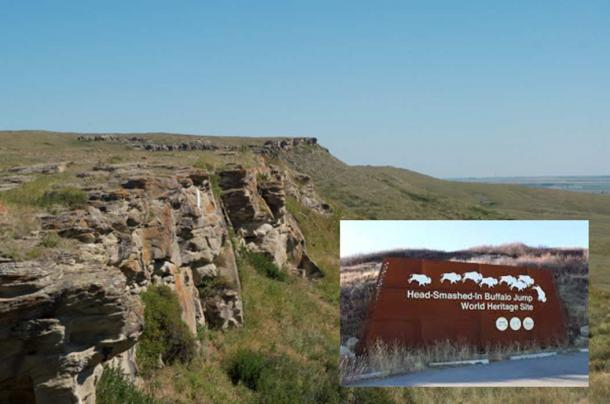 Main: Head-Smashed-In Buffalo Jump in Alberta. Inset: The entrance to the Buffalo Jump