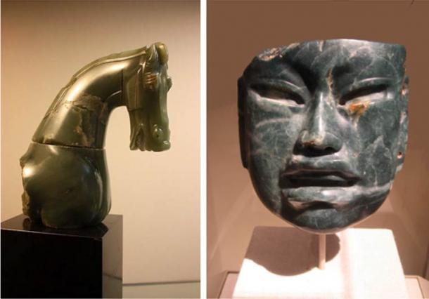 Left: Head and partial torso of a jade horse. China (Han dynasty) 206 BC - AD 220.