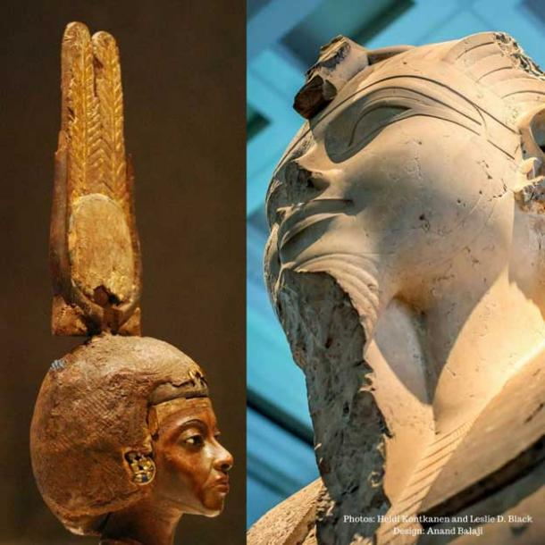 (Left) Head of a statuette of Queen Tiye wearing a double-feathered crown. This masterpiece is made of yew wood with silver, gold and glass. Neues Museum, Berlin. (Right) A limestone statue of Amenhotep III that originally stood within his Mortuary Temple in western Thebes. British Museum.