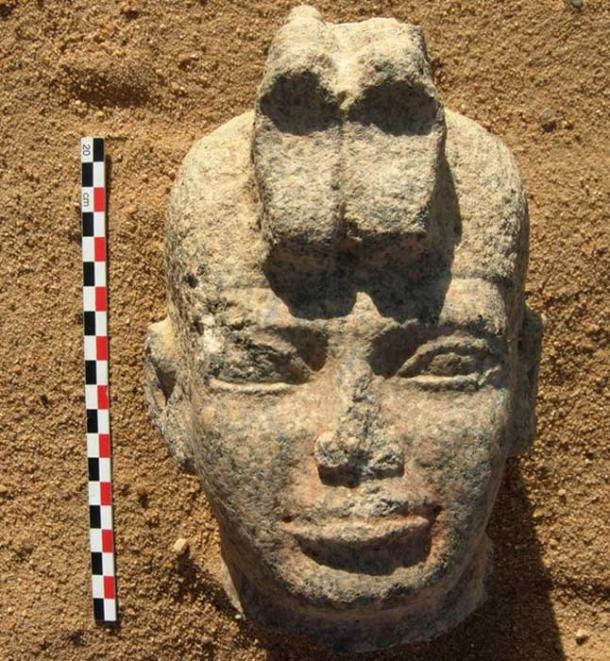 Head of the statue discovered at the site of Dangeil in Sudan. Image: J. Anderson/© Berber-Abidiya Archaeological Project
