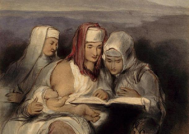Three Hebrew women, seated, reading the Scriptures; one of them breastfeeding, painting by David Wilkie. Source: Wellcome Images/CC BY 4.0