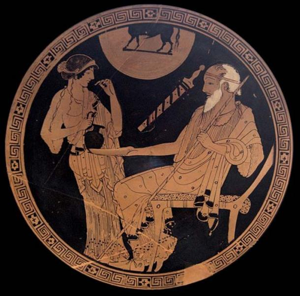 'Hecamede mixing kykeon for Nestor.' Tondo of an Attic red-figure cup, ca. 490 BC. From Vulci.