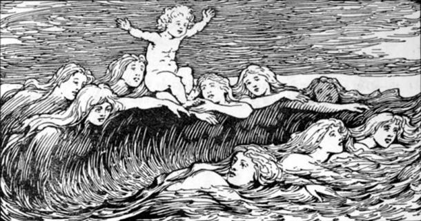 Heimdal and his Nine Mothers (1908) by W. G. Collingwood, in which Heimdallr's Nine Mothers are depicted as waves (public domain)