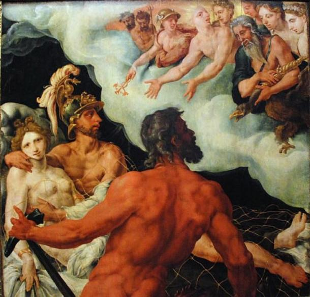 Helios (as Sol) shows the other gods Venus and Mars (Aphrodite and Ares), Vulcan (Hephaestus) stands at the front of the painting. (1540) by Maarten van Heemskerck. (Public Domain)