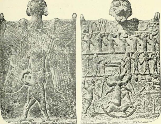 """Known as the """"Hell Plaque,"""" this amulet held by the demon Pazuzu, would be placed at the bedside of the possessed. It depicts the demon Lamashtu, Pazuzu's wife, on the front of the plate. (Internet Archive Book Images)"""