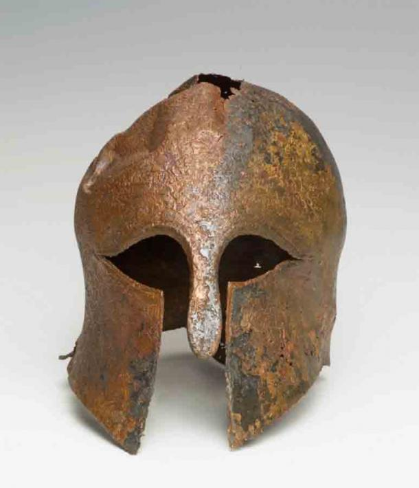 The well-preserved Corinthian helmet that was found on the Mediterranean seabed in 2007, just off the coast of Haifa, Israel. (IAA)