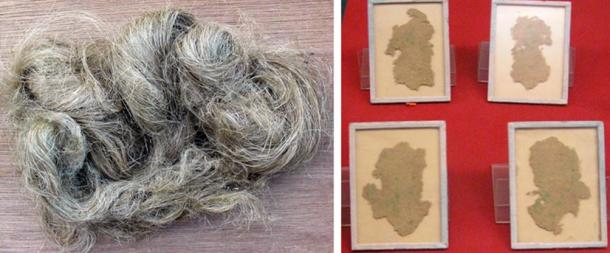Left: Hemp fiber from the Cannabis sativa plant. Right: Chinese hemp fiber paper, used for wrapping not writing, excavated from the Han Tomb of Wu Di (140-87 BC) at Xi'An