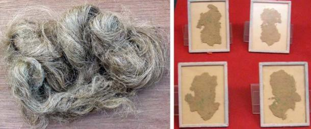 Left: Hemp fiber from the Cannabis sativa plant (CC BY SA 3.0). Right: Chinese hemp fiber paper, used for wrapping not writing, excavated from the Han Tomb of Wu Di (140-87 BC) at Xi'An