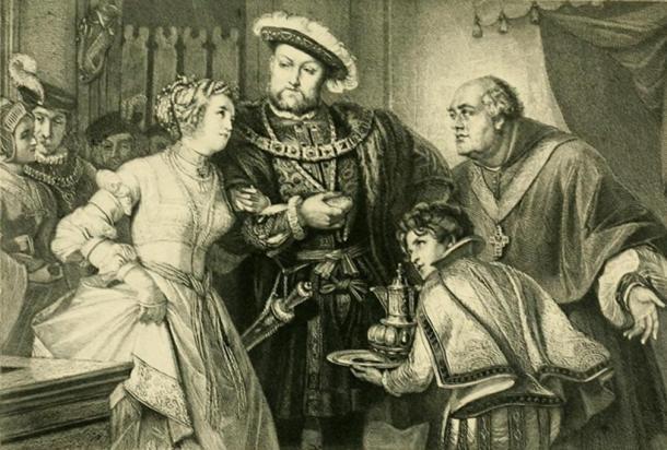 'Henry VIII and Anne Boleyn'; engraving by T. L. Raab.