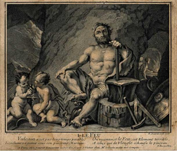 Hephaistos/Vulcan, engraved 1716 by E. Jeaurat.