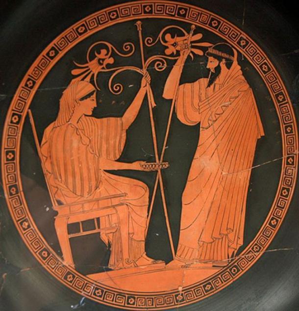 Hera and Prometheus. Tondo of an Attic red-figured kylix, 490–480 BC. From Vulci, Etruria. (Public Domain)