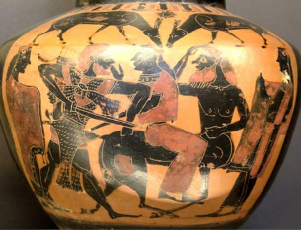 Heracles, Deianira, and Nessus, black-figure hydria, 575-550 BC, Louvre (E 803).