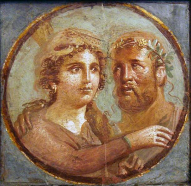 Heracles and Omphale, Roman fresco, Pompeian Fourth Style.