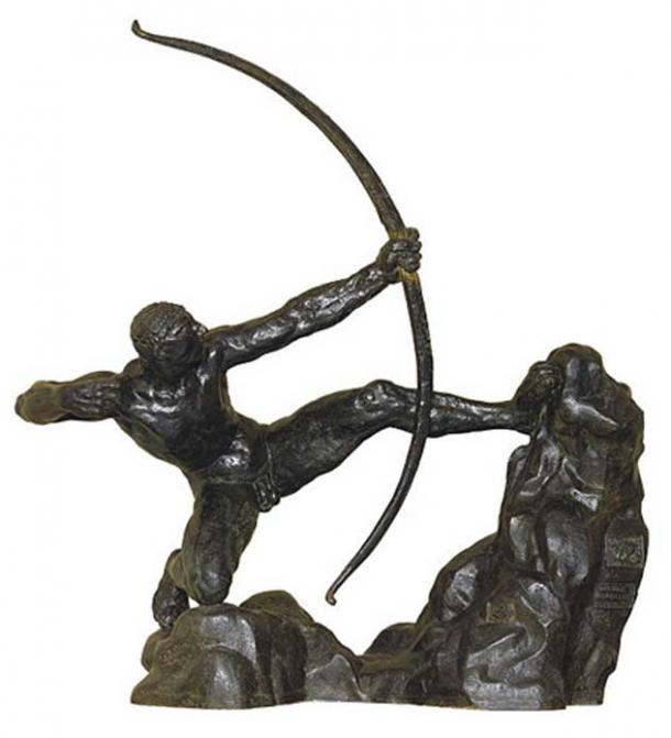 Heracles drawing back his bow.