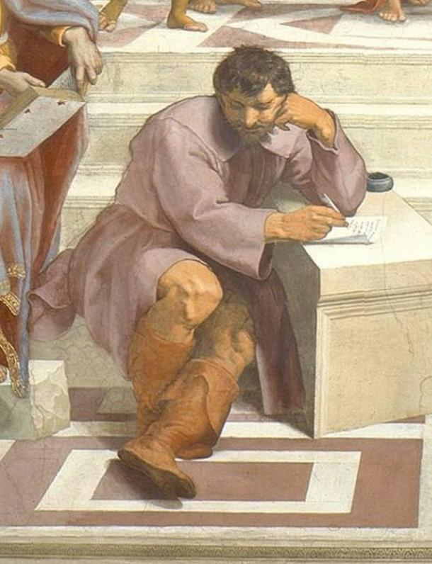 Heraclitus (with his face in the style of Michelangelo) sits apart from the other philosophers in Raphael's School of Athens.