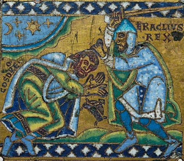 Byzantine Emperor Heraclius submitting the last important king of the Sasanian Empire, king Khosrau (Khosrow) II (reigned 590-628 AD).