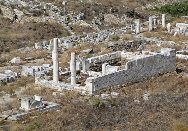 Heraion, the Temple of Hera, on Delos, Greece.